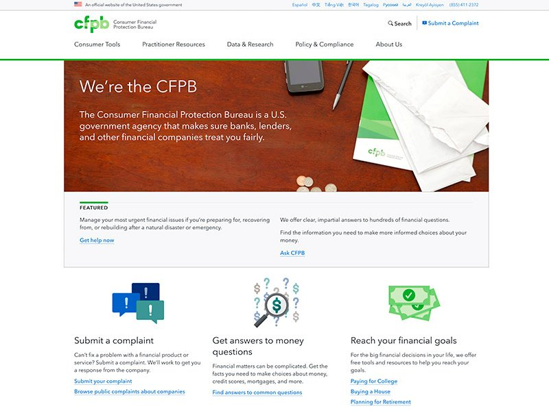 Brands That Use WordPress: Consumer Financial Protection Bureau